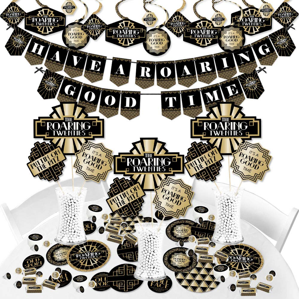 Big Dot of Happiness Roaring 20's - 1920s Art Deco Jazz Party Supplies - Banner Decoration Kit - Fundle Bundle