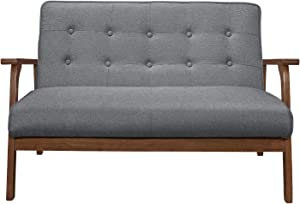 BoloShine Modern Solid Loveseat Sofa, Durable Wooden Sofa Upholstered Fabric with Sturdy Legs, Comfortable Mini Couch Ideal for Liviing Room, Bedroom (Gray)