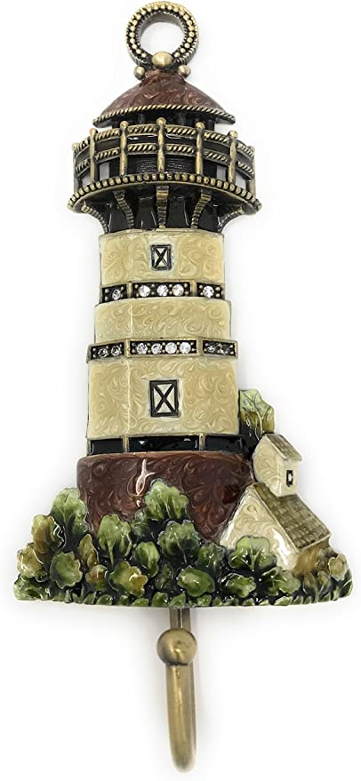 Kubla Crafts Enameled Black /& White Lighthouse Trinket Box Accented with Austrian Crystals