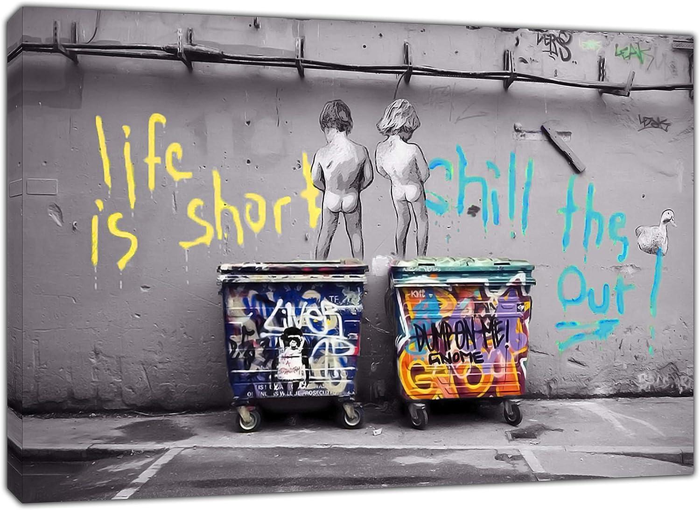 Kunstdruck auf gerahmter Leinwand Banksy Life is Short Kids 30x 20 cm 12/'/'x 8/'/'inch -18mm depth