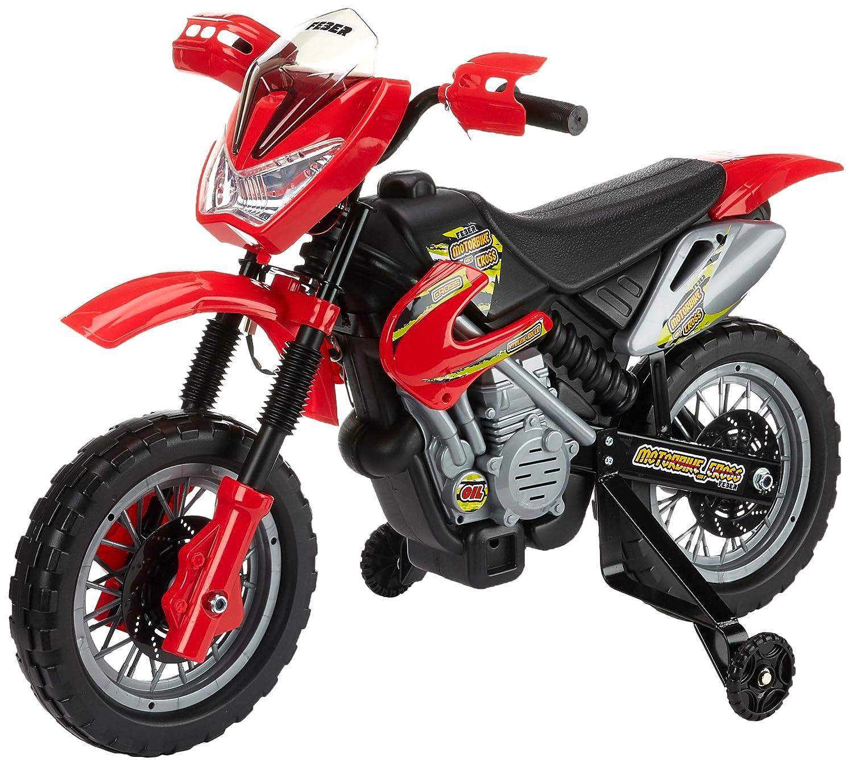 FEBER 6V Motorbike Cross, 400F, 6 V, Color Negro, Gris, Rojo, Amarillo