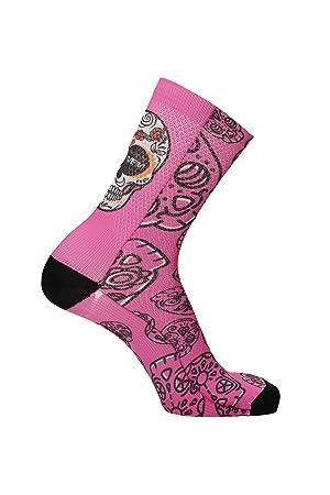 Calcetines de Ciclismo MB Wear Calavera Rosa: Amazon.es: Deportes y aire libre