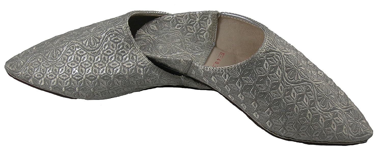 Unbekannt Orientalische Schuhe Babouche Hausschuhe Pantoffel Slipper Aus Marokko - Damen Hausschuhe Aus Leder-Brokat, Handarbeit Aus Fes,Silber,39 EU