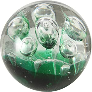 WHW Whole House Worlds Emerald Green Dynamic Bubbles, Paperweight, Handcrafted Art Glass, 3 1/2 Inches