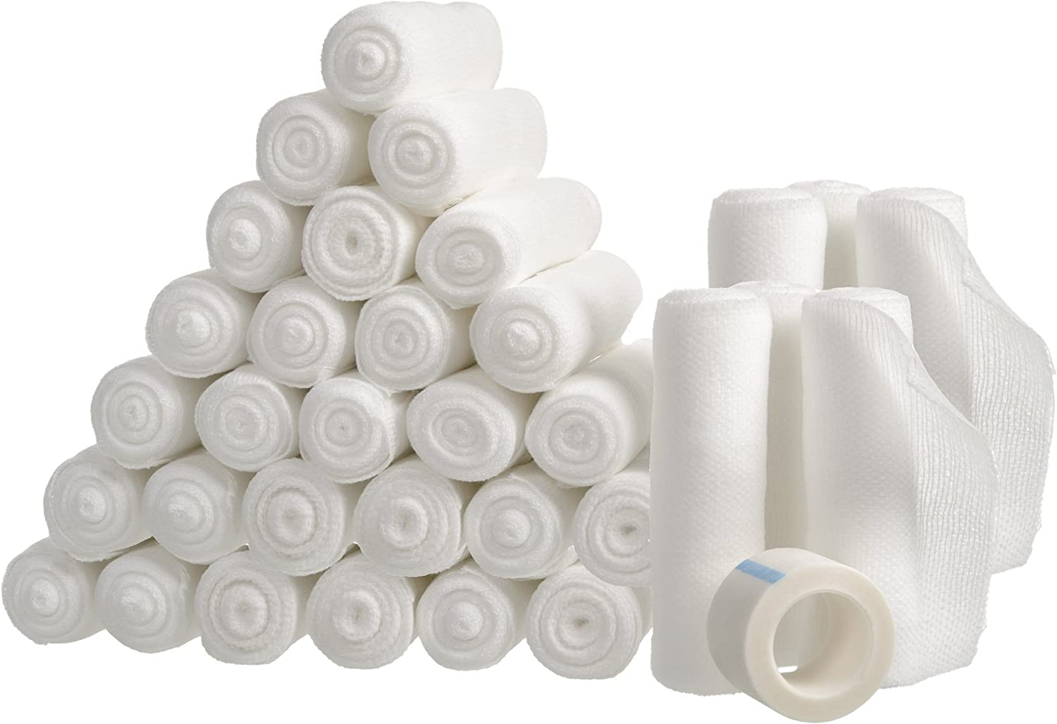 Gauze Bandage Rolls with Tape 36-Pack, Stretch Bandage Roll, 4 x 4 Yards Stretched, Breathable White Gauze Bandages, Bulk Gauze Rolls for Home, Gym & Office Use, Absorbent Bandage Rolls: Health & Personal Care