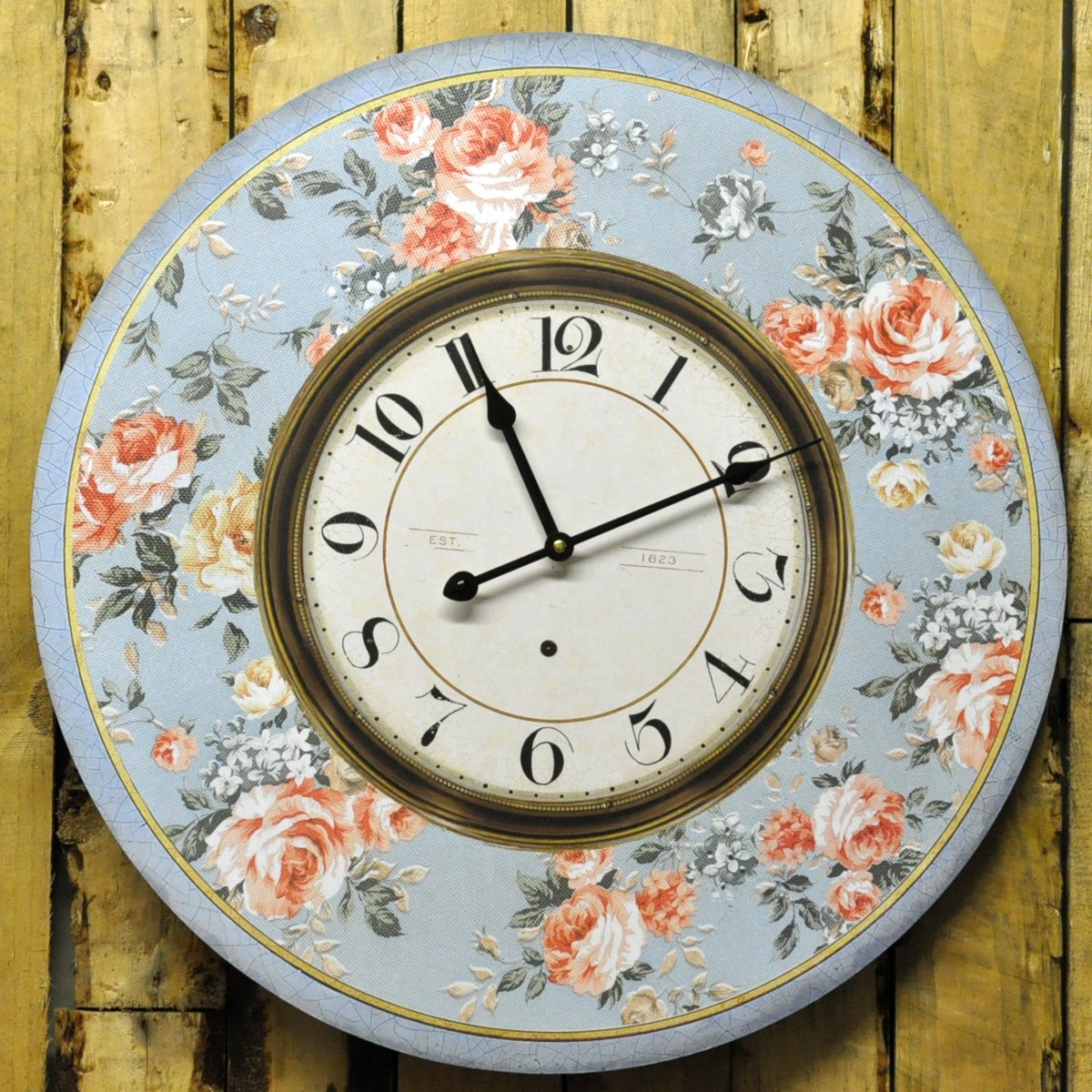 Wall Clock Floral Design : French vintage style blue floral rose design wall clock