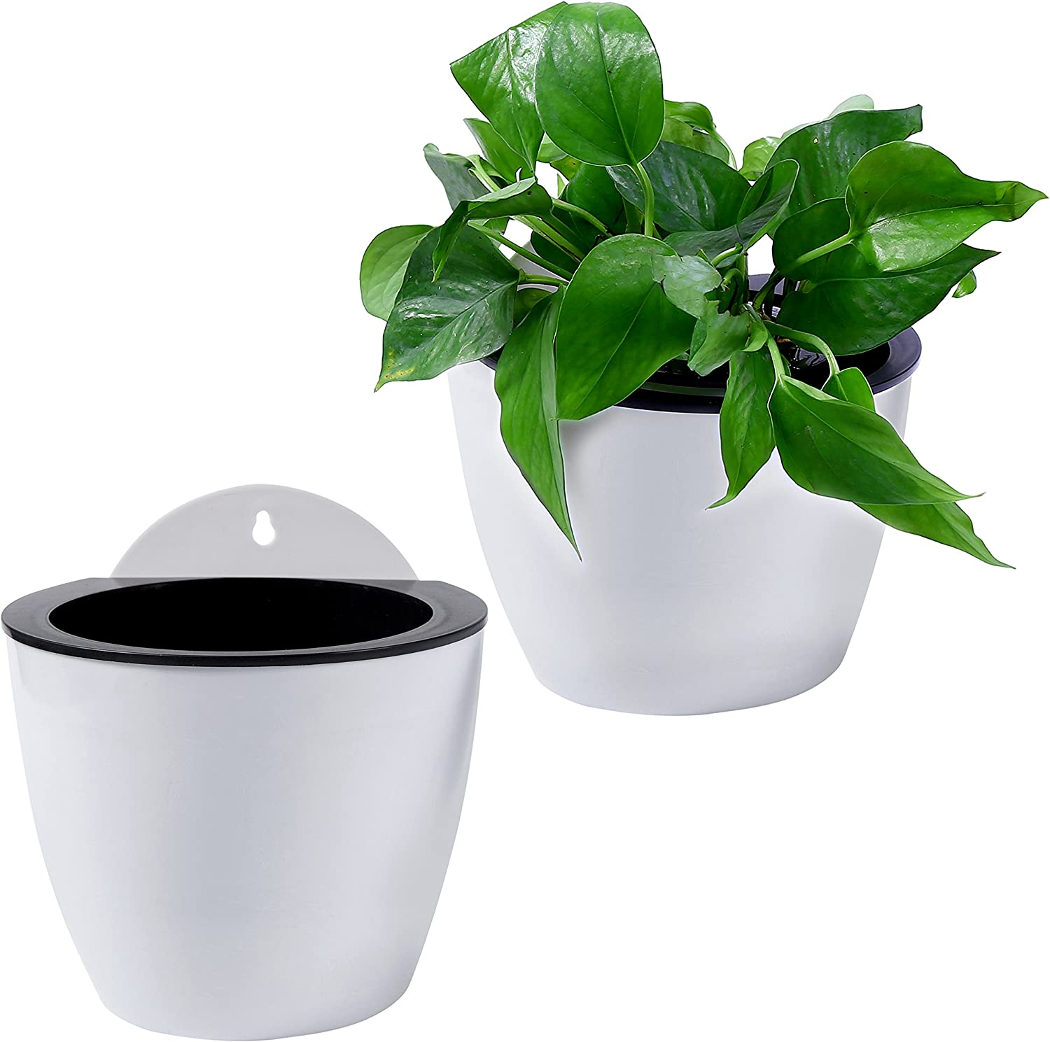 Durable Self-watering Plant Flower Pot Plastic Planter Wall Hanging Ornament N7