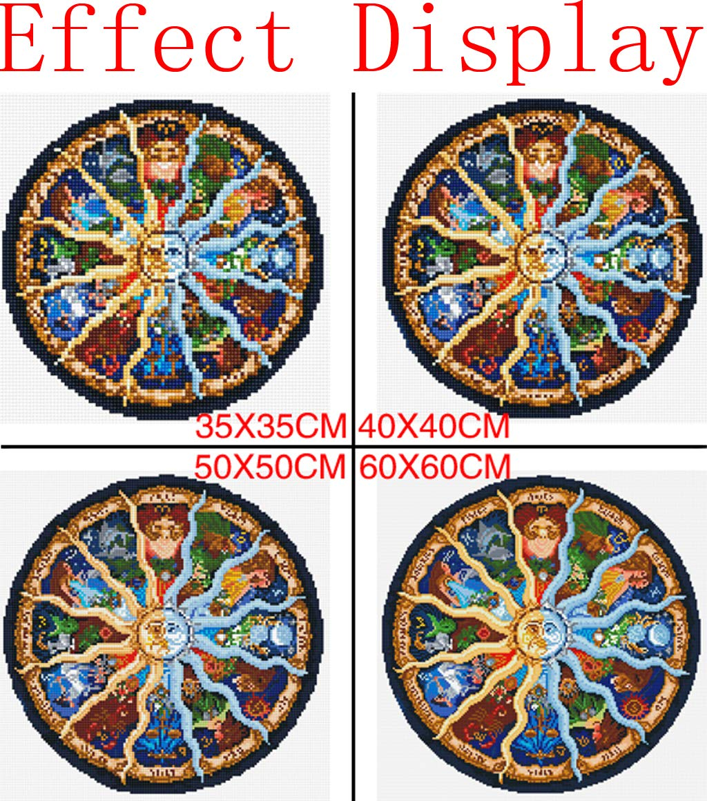 13.8x 13.8 DIY Handwork Store Mandala Series Zodiac Horoscope 5D DIY Crystal Diamond Painting Cartoon Cross Stitch Full Needlework Embroidery Christmas Gift Stickers