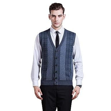 69c51d3f558e72 Zelta Men s Knitted Vest Button Down Sleeveless Cardigan V-Neck Sweater  (XL