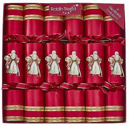 6 Victorian Santa Red Christmas Crackers: Amazon.co.uk: Kitchen & Home