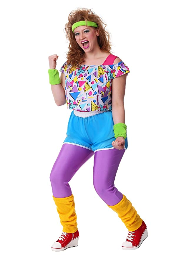 80s Costumes, Outfit Ideas- Girls and Guys Womens Plus Size Work It Out 80s Costume $49.99 AT vintagedancer.com