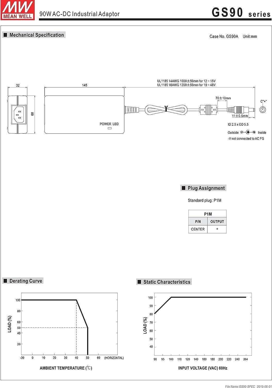 MW Mean Well GS90A12-P1M 12V 6.67A 80W AC-DC Green Industrial Adaptor