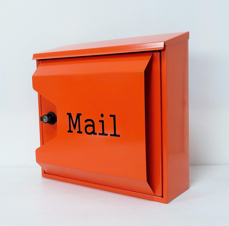 郵便ポスト郵便受け北欧風大型メールボックス 壁掛けプレミアムステンレス オレンジ色ポストpm044 B018NNX0Z2 12880