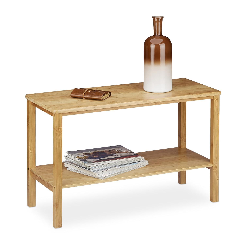 Relaxdays Tavolino RUSTICO da divano, soggiorno, salotto, rettangolare, 2 ripiani, bambù HxLxP 50x80x34 cm ca., marrone 10020274