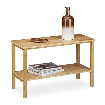 Relaxdays Mesa para el sofá Rustico, Hecho de bambú, 50 x 80 x 34 cm, Rectangular, Plano, 2 Niveles, Espacio de almace, marrón