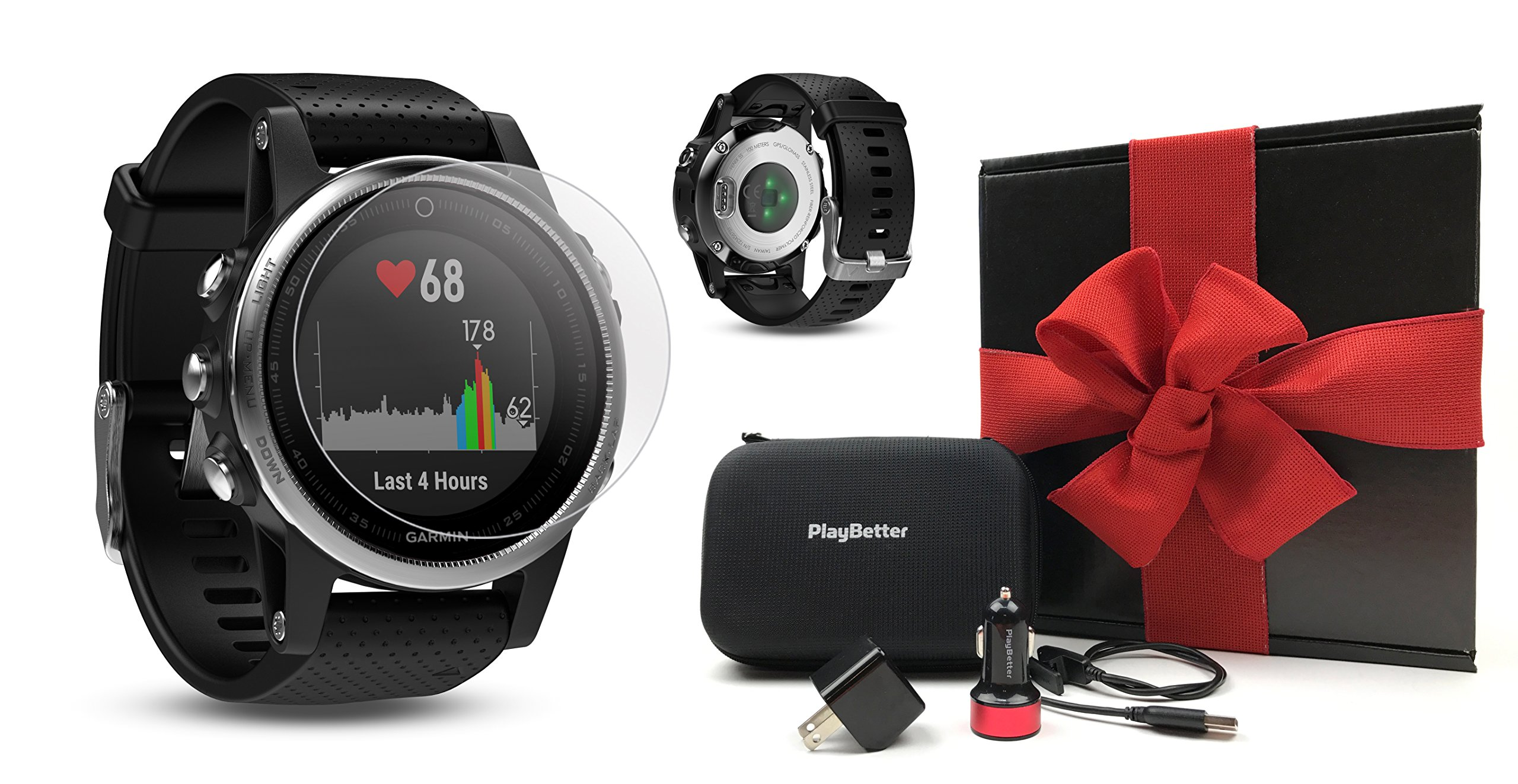 Garmin fenix 5S (Silver with Black Band) GIFT BOX Bundle | Includes HD Screen Protector, PlayBetter USB Car/Wall Adapter & Hard Case | Multi-Sport GPS Fitness Watch, Wrist-HR | Black Gift Box