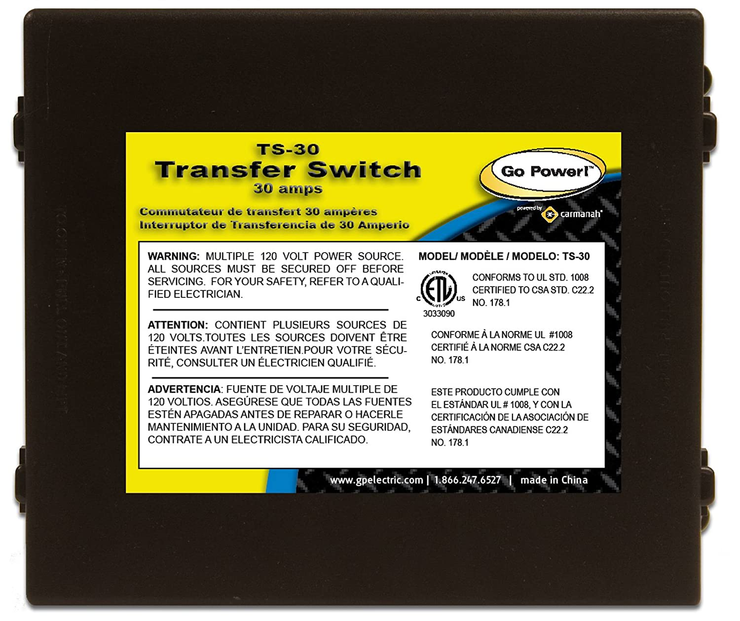 Go Power Ts 30 Amp Automatic Transfer Switch Automotive Ac With Relay Infrared Proximity Sensor