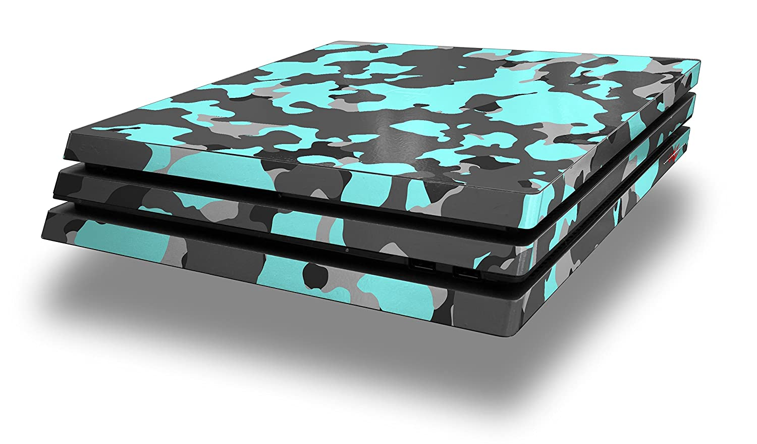 WraptorSkinz PS4 Pro Skin WraptorCamo Old School Camouflage Camo Neon Teal - Decal Style Skin Wrap fits Sony PlayStation 4 Pro Console