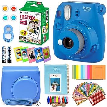 1c5b66612 FujiFilm Instax Mini 9 Instant Camera Cobalt Blue + Fuji INSTAX Film (20  Sheets)