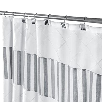 Decorative Fabric Shower Curtain White And Gray