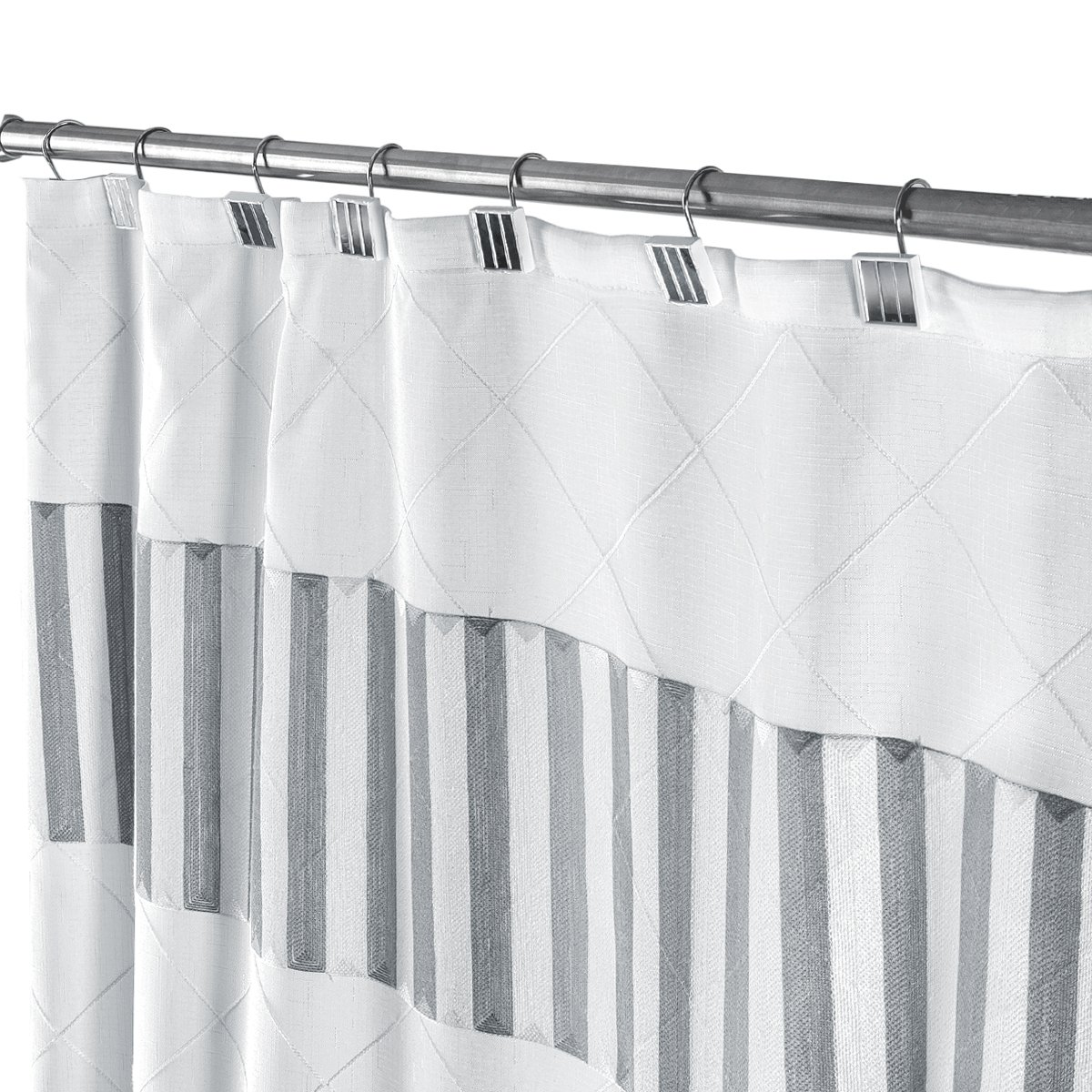 Quilted Mirror Decorative Fabric Shower Curtain White, Includes PEVA Shower Curtain Liner, Mildew Resistant, 72 x 72 inch, Polyester Soft Touch Waterproof Washable Cloth Shower Curtains for Bathroom