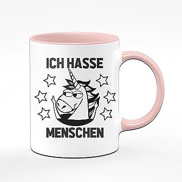 Einhorn Tasse Ich Hasse Menschen Kaffeetasse In Rosa Witzige