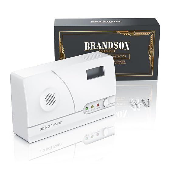 brandson - Detector de monóxido de carbono (Co Detector de alarma, detector de gas/Gas Warner/Gas Alarma/detector | Alarma inmediata | Función de memoria + ...