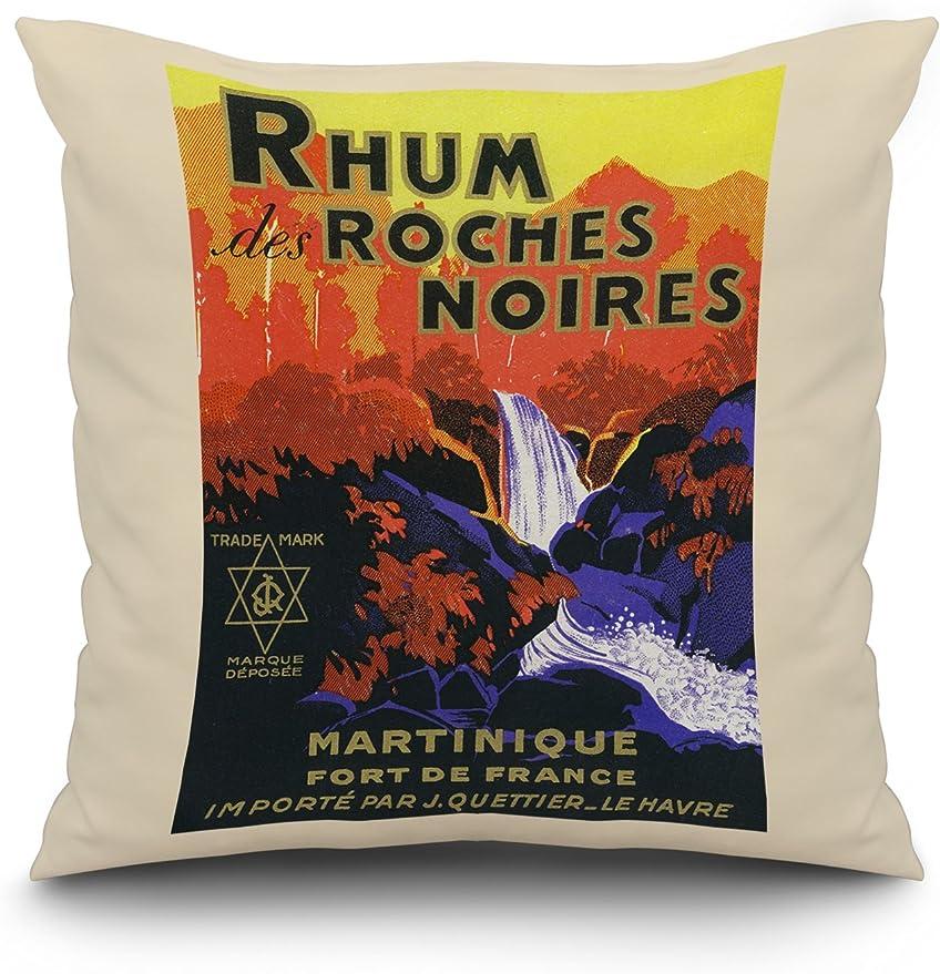Rhum Des Roches Noires Brand Rum Label 20x20 Spun Polyester Pillow White Border Amazon Ca Home Kitchen