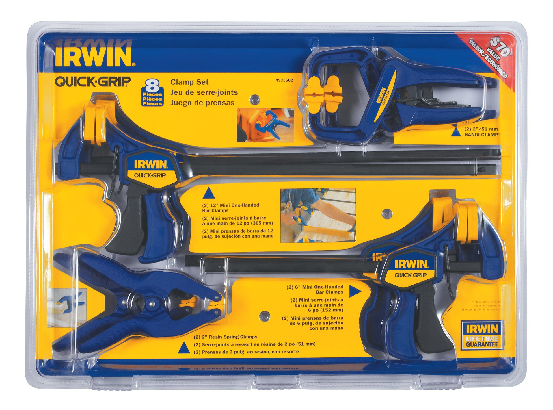 IRWIN Tools QUICK-GRIP Clamp Set, 8 Piece, 4935502