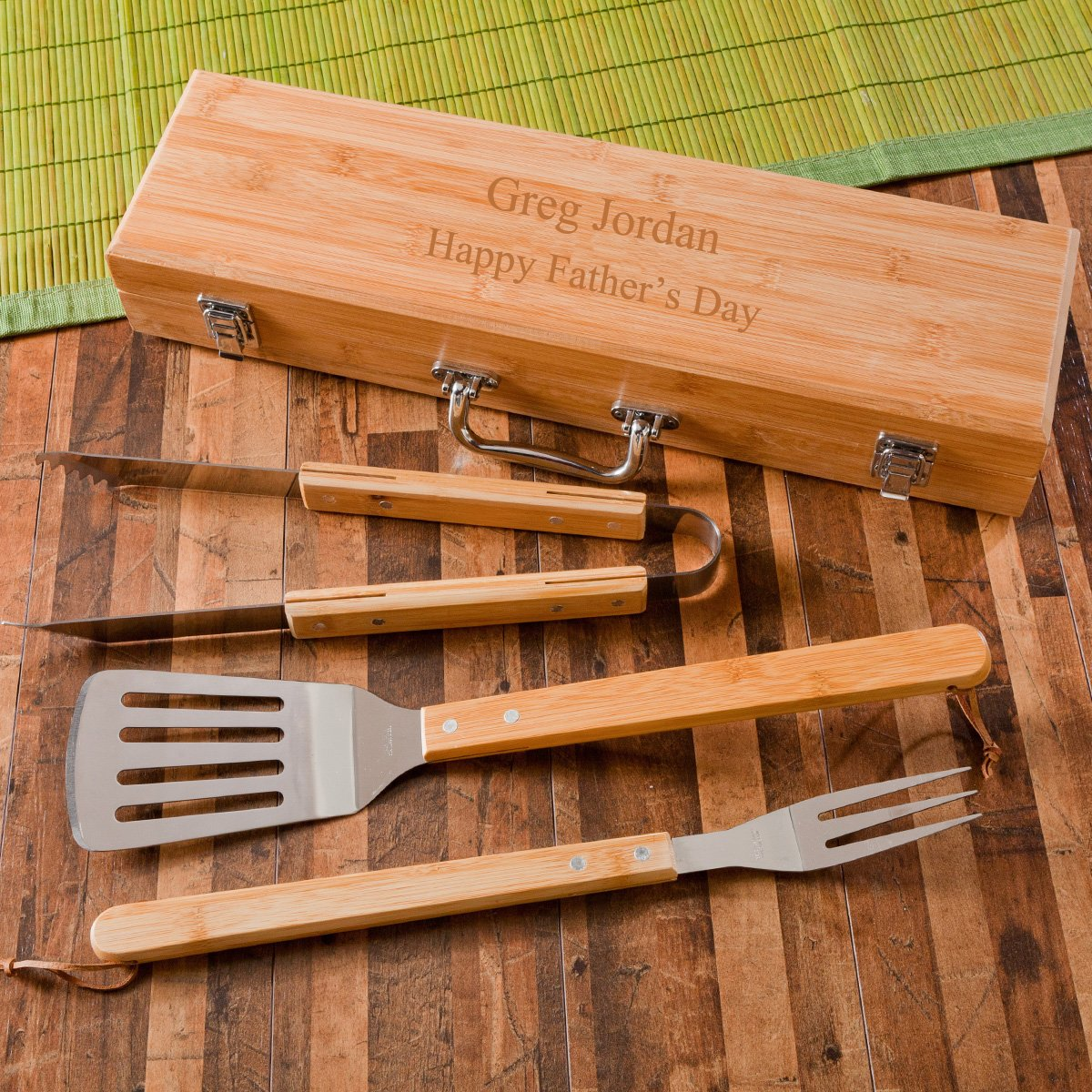Engraved BBQ Set in Bamboo Case