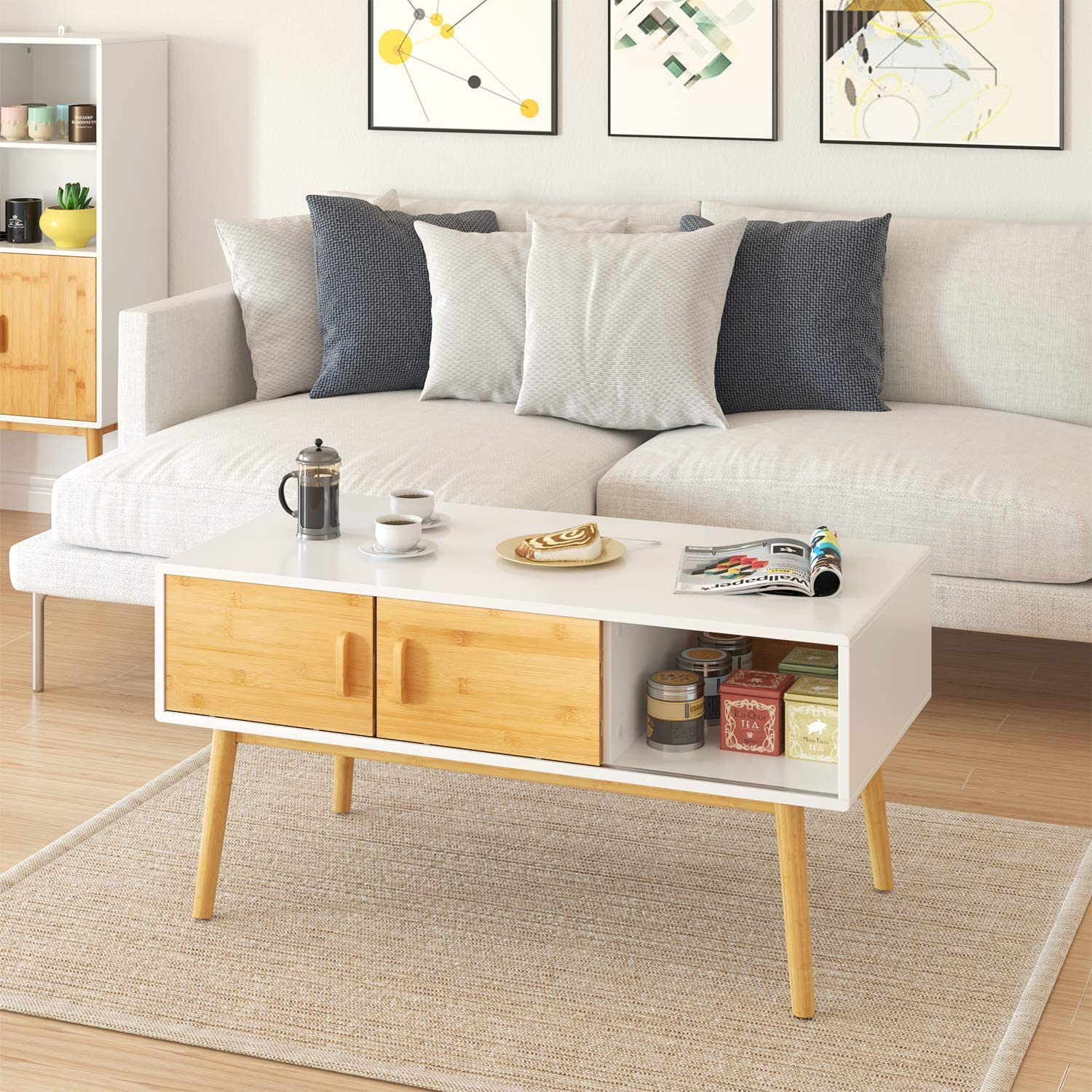 HOMECHO Coffee Table with 4 Bamboo Sliding Doors to Adjusted 3 Storage Shelf Cabinets Living Room Organize Cocktail Table TV Table Sofa Desk Center Table Wood Mid Century Modern White Home Office