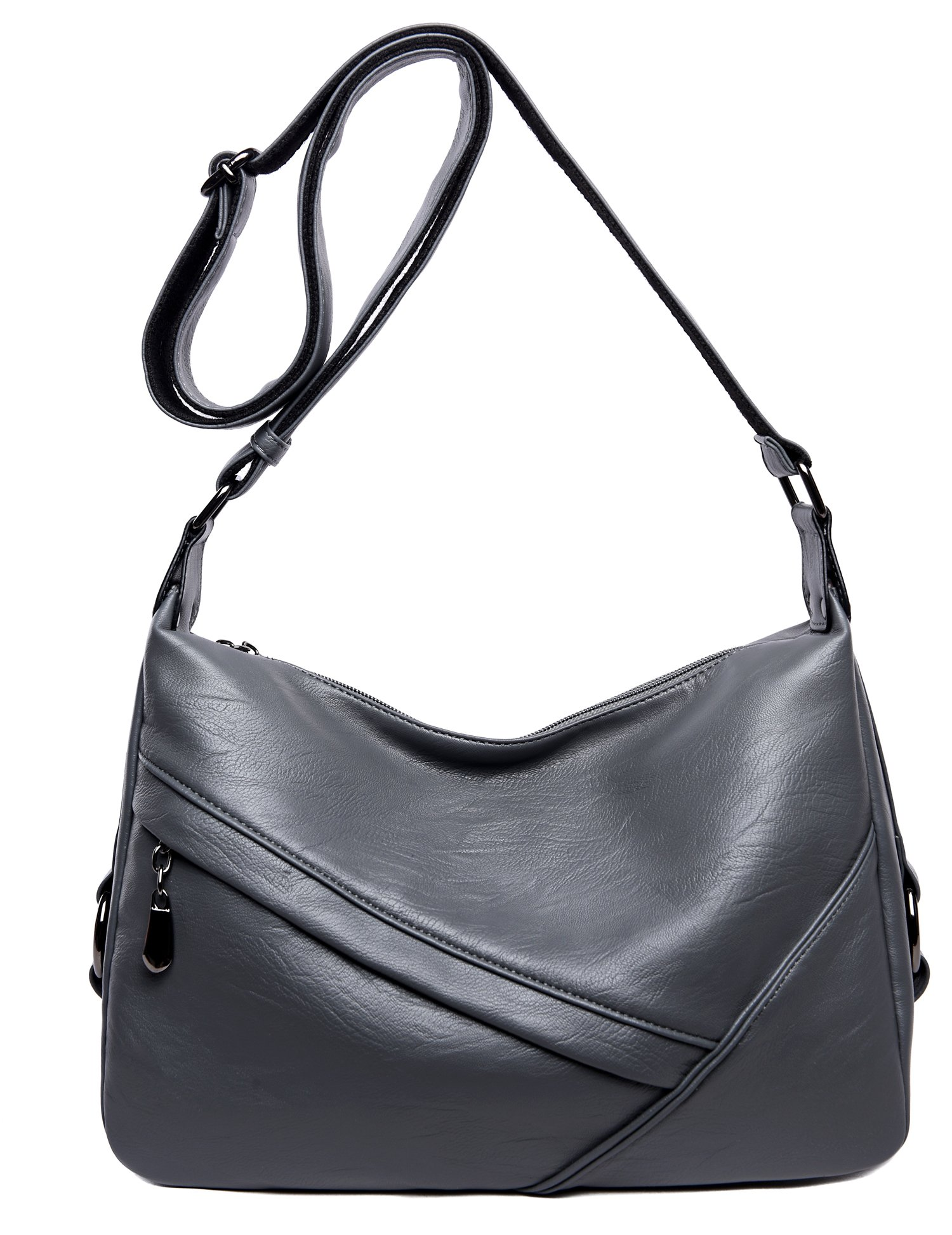 Women's Retro Sling Shoulder Bag from Covelin, Leather Crossbody Tote Handbag Grey