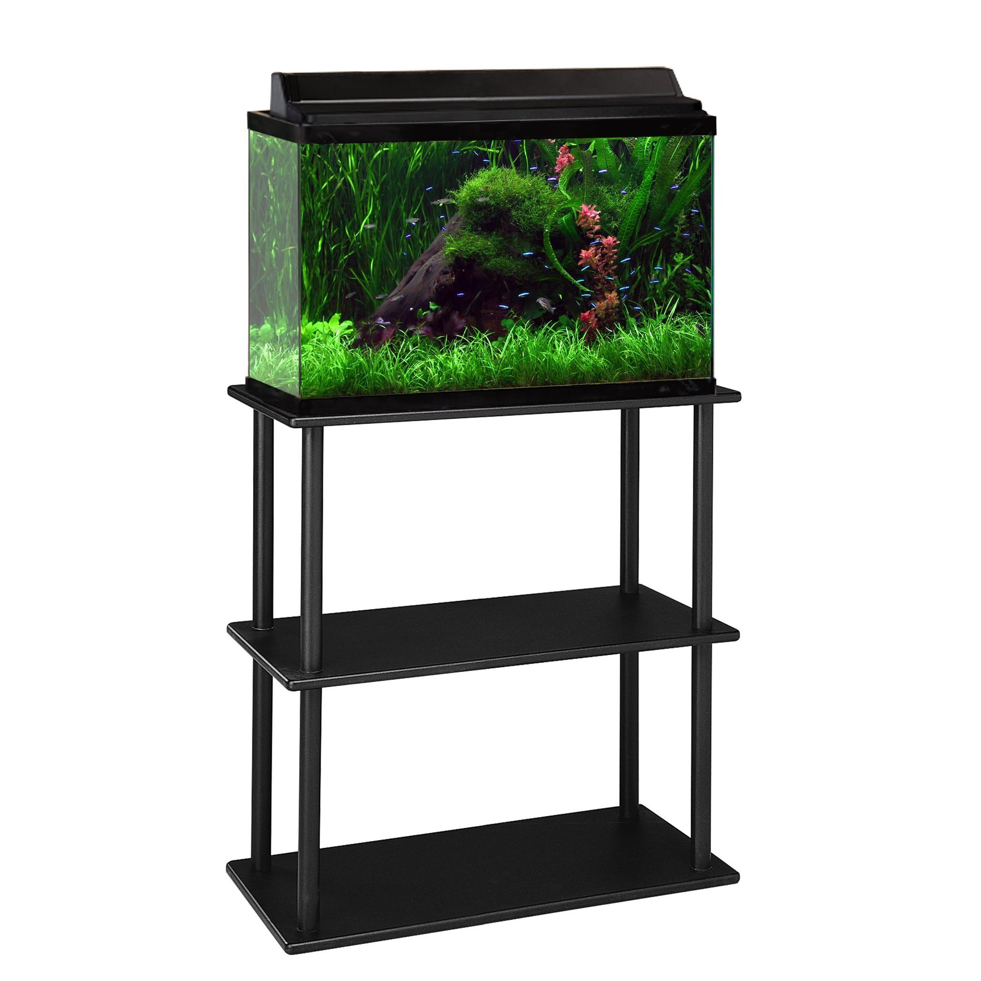 Aquatic Fundamentals Black Aquarium Stand with Shelf – for 10 and 20 Gallon Aquariums, 14.5 in