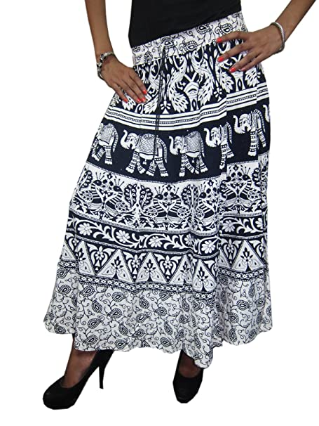 7729f0dd4 Mogul Interior Women's Maxi Skirt Black Elephants Bohochic Cotton ...