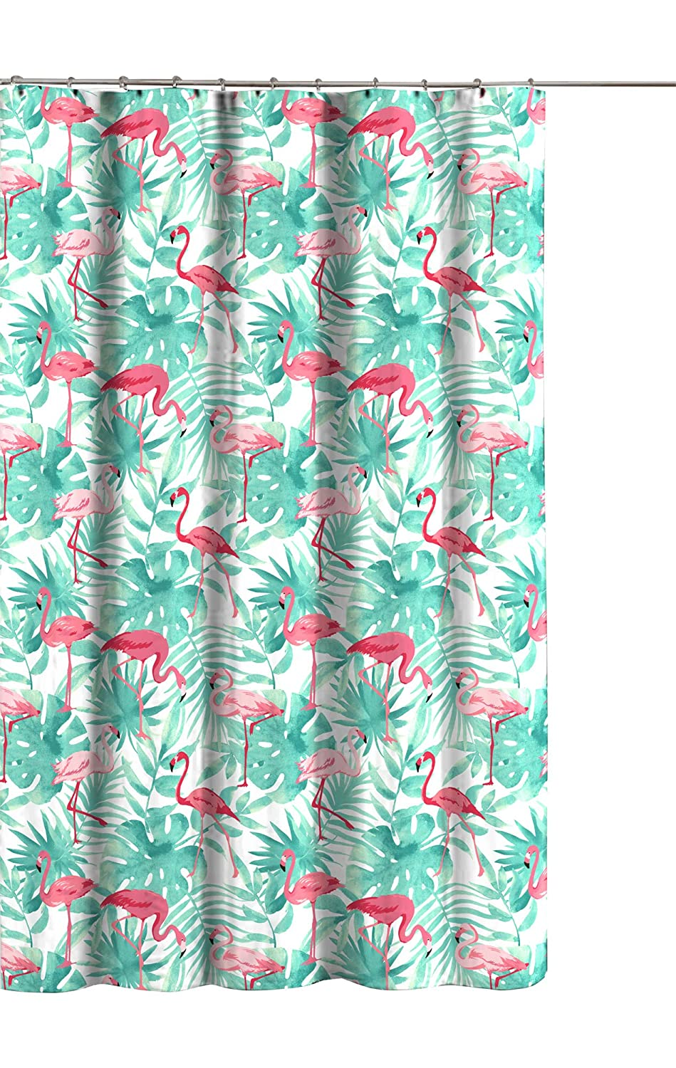 Tropical Palm Leaves Flamingo Collection Fabric Shower Curtain Pink Teal White