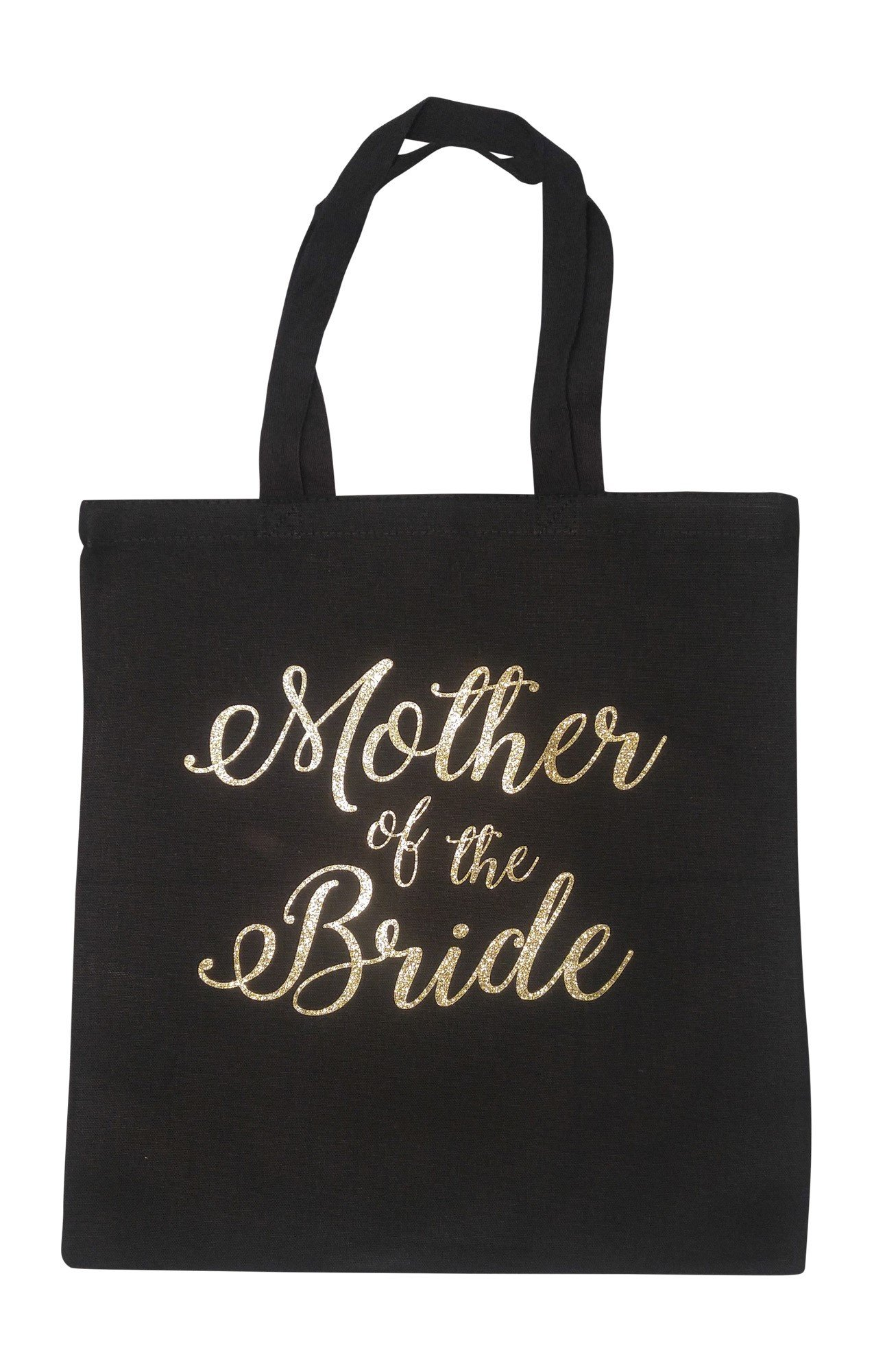 The Spoiled Office Wedding Party Bridal Tote Bag with Gold Lettering - Heavyweight, Large Canvas 15'' x 16'' (Mother of the Bride in Black)