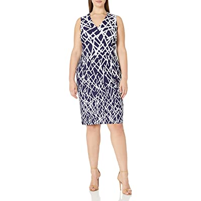 Adrianna Papell Women's Size Crepe Scuba V-Neck Sheath Dress Plus at Amazon Women's Clothing store