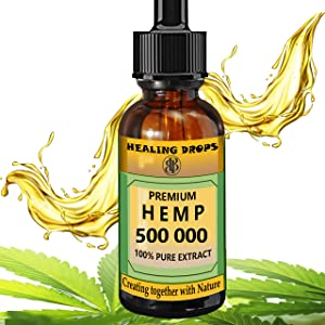 Hemp Oil 500 000 mg 100% Natural Extract, Supports Anti Anxiety and Stress, Natural Health, Organic Dietary Supplement Rich in Omega 3 6 9 Fatty Acids for Skin & Heart & Immune Support