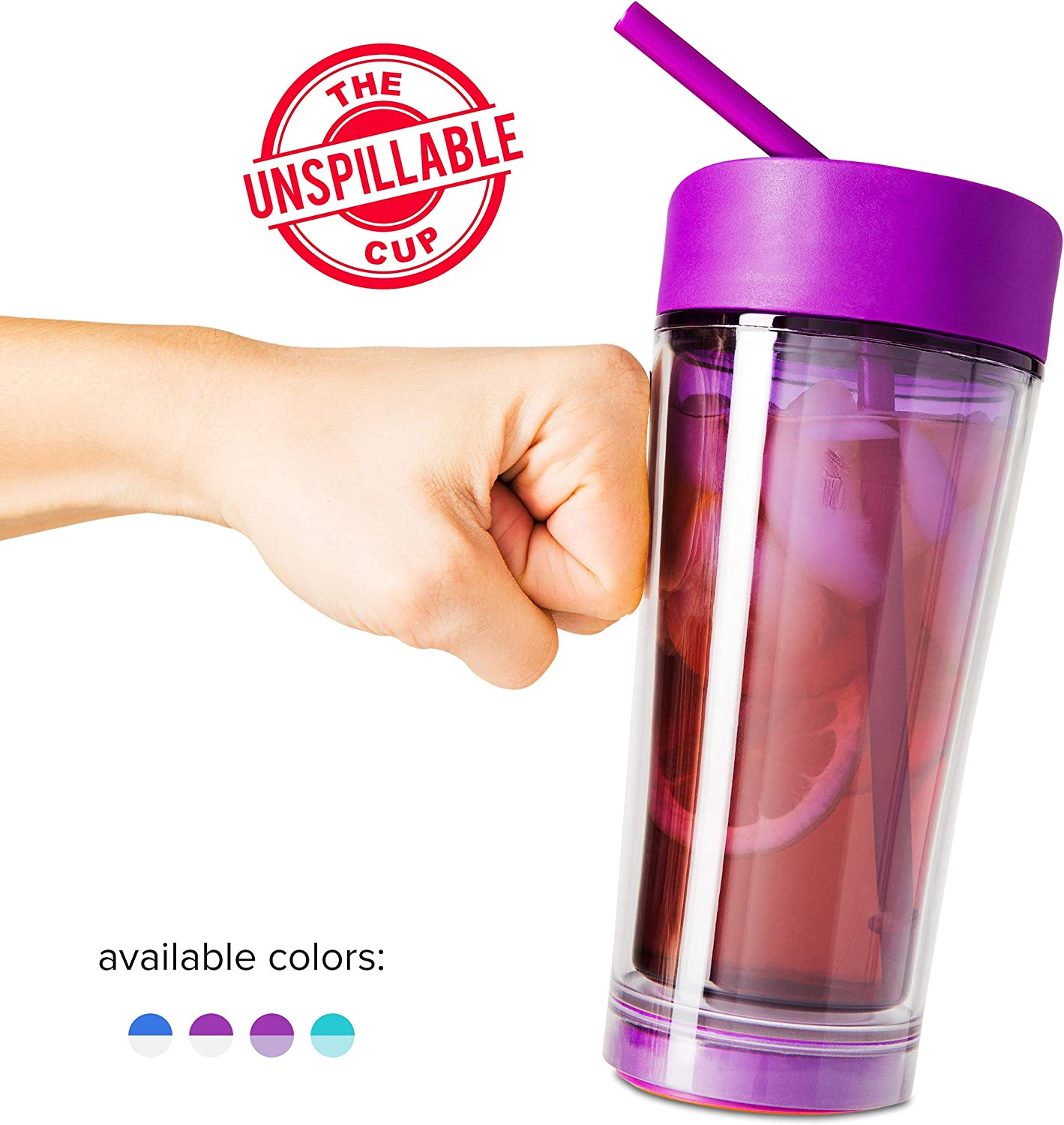 Mighty Mug Vortex Tumbler, The Travel Mug That WonÕt Fall, with Double Wall Insulation and Convenient Flex Straw, Purple, 20 oz