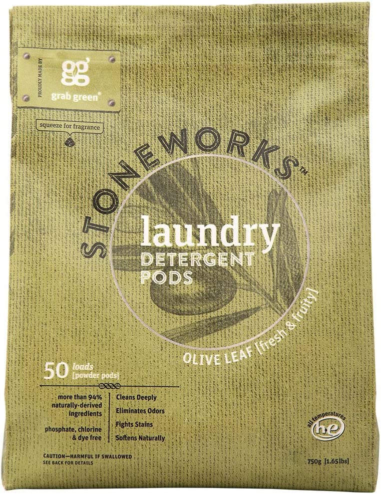 Grab Green Stoneworks Laundry Detergent Pods, Olive Leaf, 50 Count (Pack of 1) Loads-EPA Safer Choice Certified, Powered by Naturally-Derived Plant & Mineral-Based Powder Pods