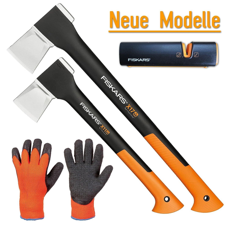 FISKARS© Set Spaltaxt X17 - M + X11 - S + Xsharp Axt- und Messerschärfer + Handschuhe