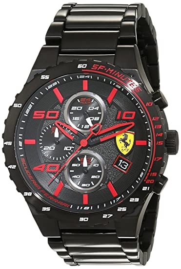 5e52ee3e16ce Scuderia Ferrari Reloj Cronógrafo para Hombre de Cuarzo con Correa en Acero  Inoxidable 830361  Amazon.es  Relojes