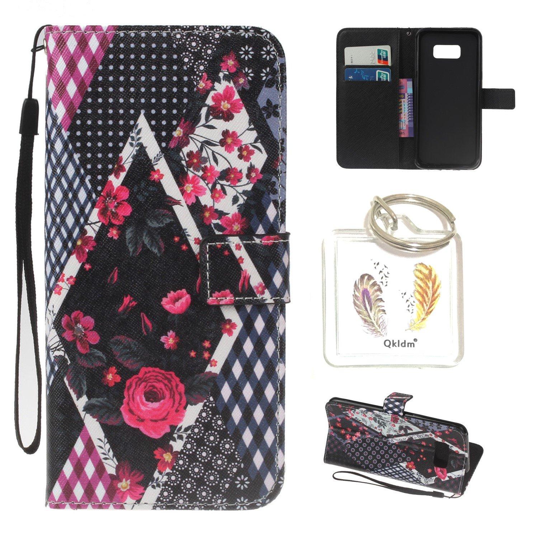für Galaxy S8 Plus PU Silikon Schutzhülle Handyhülle Painted pc case cover hülle Handy-Fall-Haut Shell Abdeckungen für Smartphone Samsung Galaxy S8 Plus + Schlüsselanhänger (/PCP) (4) (1) Qkldm