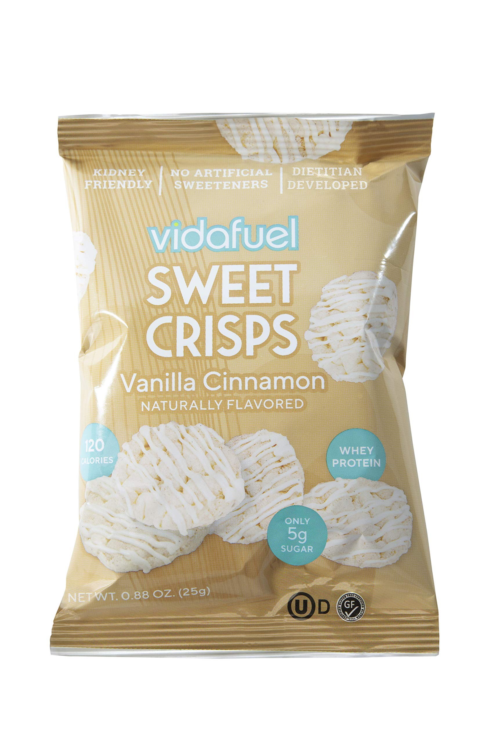 VidaFuel Healthy Whey Protein Sweet Crisps, Kidney Friendly, Heart Healthy, Dietitian Developed, No Artificial Sweeteners or Colors, No Sugar Alcohols, Vanilla Cinnamon, 0.88 Ounce Bag, Pack of 24 by vidafuel
