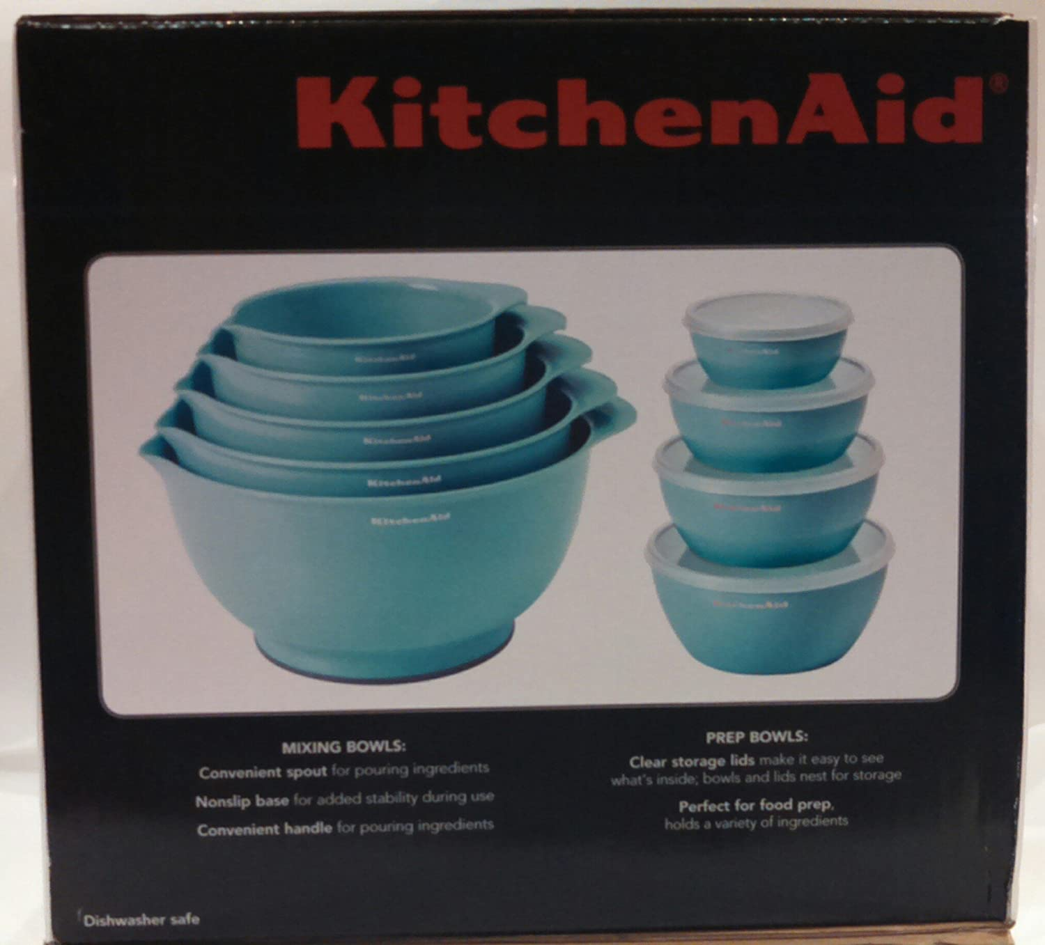 Amazon.com: KitchenAid 13 Piece Mixing and Prep Bowl Set Aqua Sky ...