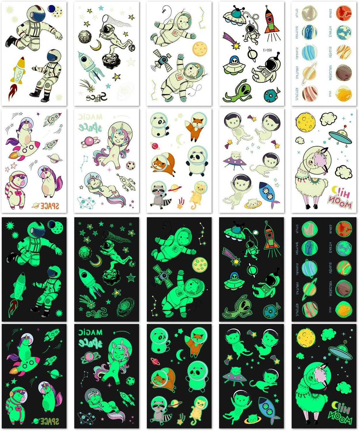 unicornio PHOGARY Tatuajes Temporales para Ni/ños y Ni/ñas Patrones: animales astronautas 20 hojas Calcamonias Temporales Espaciales, brillar en la oscuridad