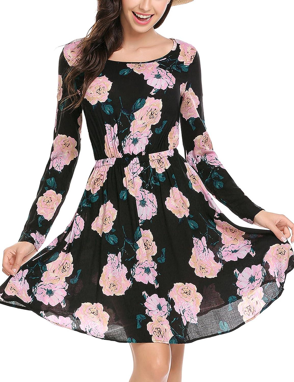 Beyove Damen Elegante Blumenmuster Kleid Abendkleider Strandkleid mit Blumendruck Festlich Casual Langarm Knielang