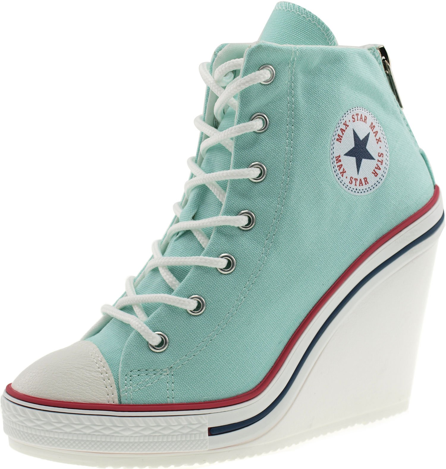 Maxstar Women's 777 Back Zipper Canvas High Wedge Heel Sneakers Mint 9 B(M) US