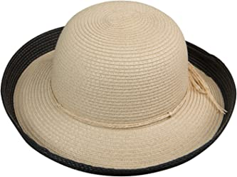 06ecc67f28a Broner Ladies Mable Straw Round Crown Hat with Upturned Brim and Contrast  Color Detail