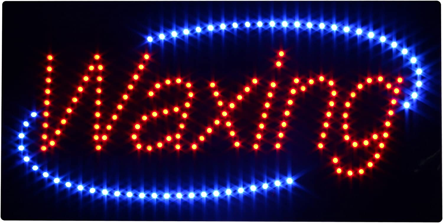 19 x 10 inches LED Waxing Open Light Sign Super Bright Electric Advertising Display Board for Message Business Shop Store Window Bedroom